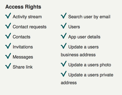 Screenshot 1, showing the rights to request